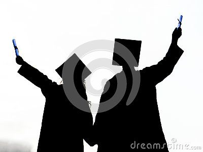 Graduated girl and boy silhouette, Graduation student, Girl and boy graduate, Male and female graduated