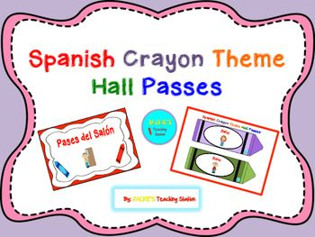 My Spanish Crayon Theme Hall Passes can be cut, laminated, hole punched and laced with string or ribbon, or applied a magnet adhesive…