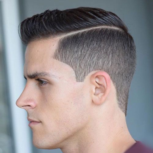 Tapered Fade with Hard Side Part