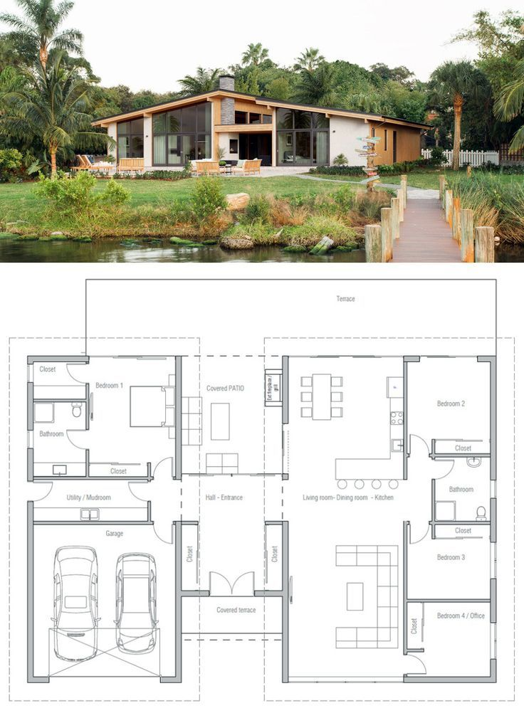 House Plan with three bedrooms open planning