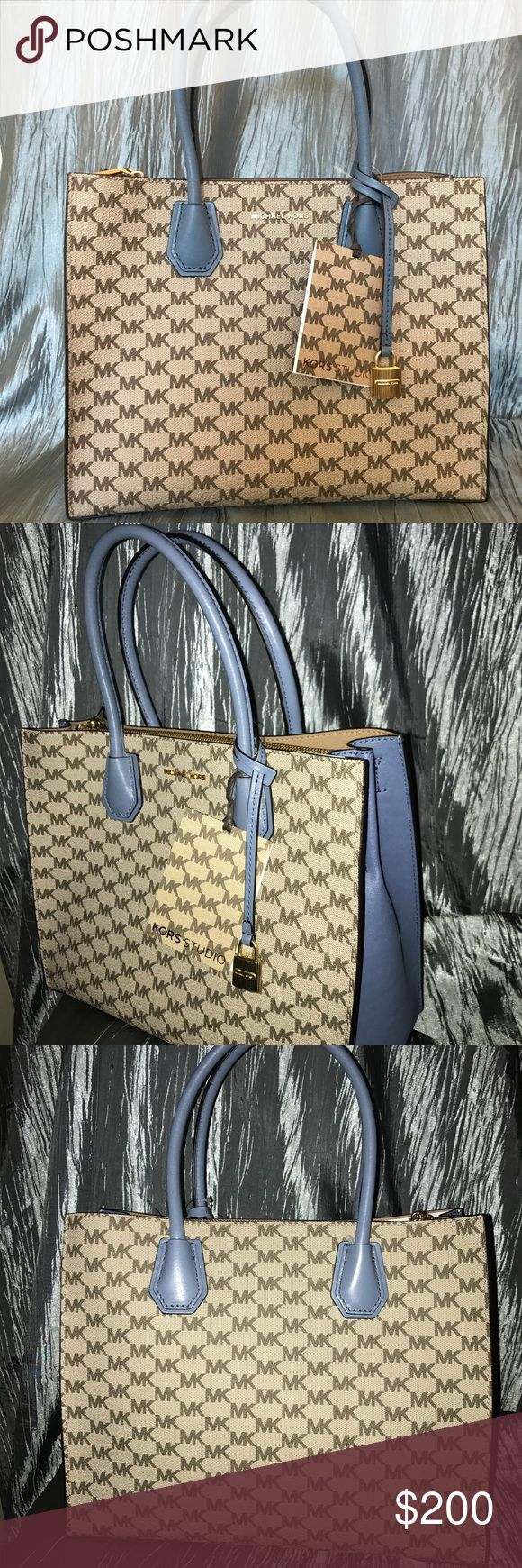 """Michael Kors Studio Natural Denim Mercer Tote -New with tags: A brand-new, unused, and unworn item. Never used, in perfect condition, no defects, marks, or scratches.  -UPC # 190864481548 Style # 30F6AM9T3V  -100% Authentic!  -Premium coated canvas emblazoned with signature logo. MK sturdy convertible tote comes with crossbody strap.  -MK dust cover included. -Interior center divider pocket with hang charm in front.  -Size: 11-1/4""""W x 8-1/2""""H x 5""""D; 4-1/4""""L double handles; 22""""-25""""L…"""