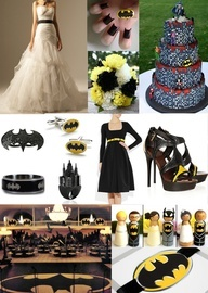 Batman Wedding Inspiration... from When Geeks Wed......LOL! Love the shoes. I think this would be Landon's first pick for our wedding theme.