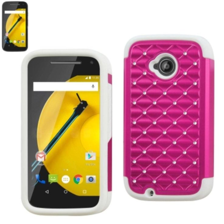 Reiko Diamond Hybrid Protector Cover Moto E Lte (2Nd Generation) Moto E (2015) Xt1527-Xt1511-Xt1505-Xt1524 White Hot Pink