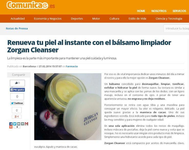 """Web: """"Comunicae"""". Producto: Zorgan Cleanser."""