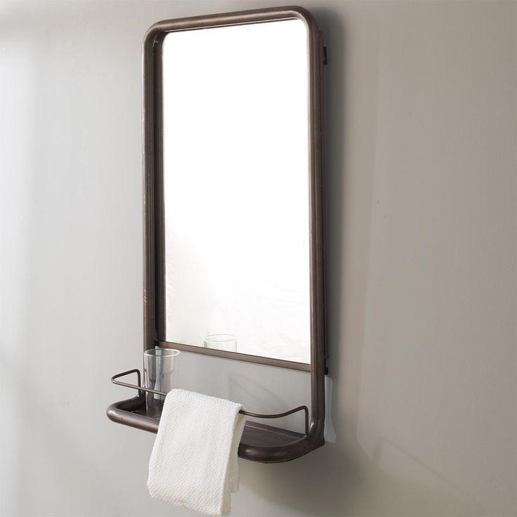 Metal Frame Pharmacy Mirror with Shelf