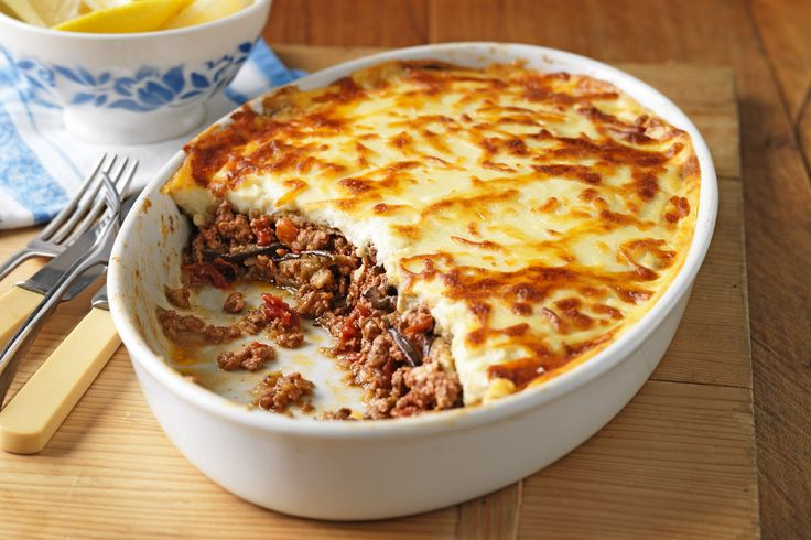 """This signature Mediterranean lamb dish is a """"shear"""" delight to the senses! #moussaka #food"""