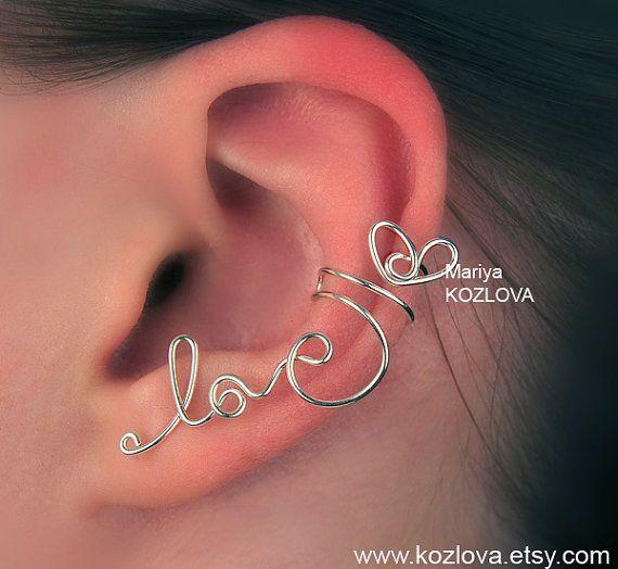 Lasciata la cartilagine dell'orecchio bracciale tenero amore - filo scrittura, argento placcato