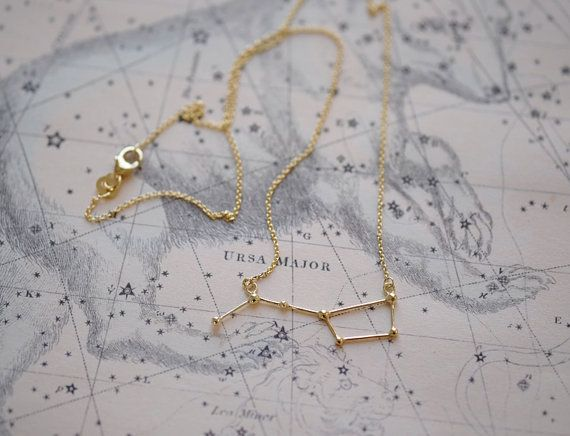 Delicate necklace with Ursa Major constellation in 14k gold. The constellation…