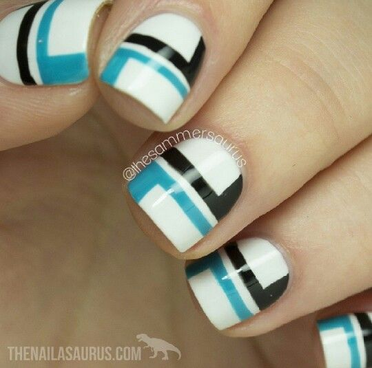 Colorblocked nails with blue black and white