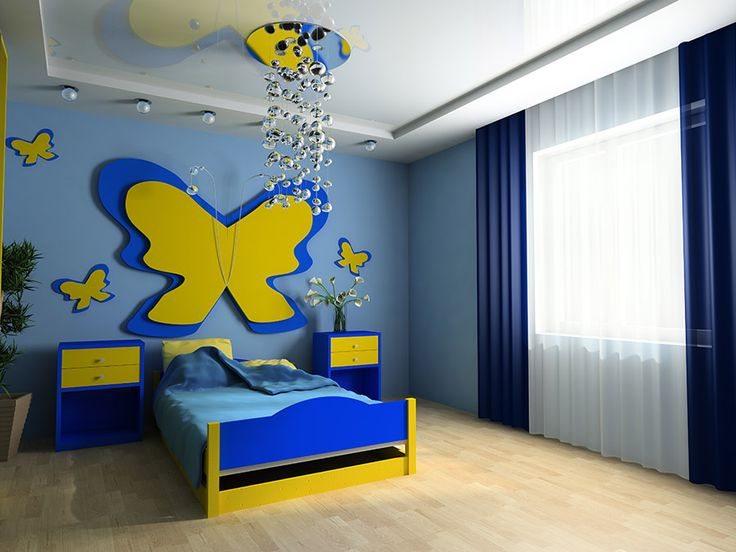 Dormitorio infantil ambientado siguiendo un esquema de - Colores de habitaciones infantiles ...