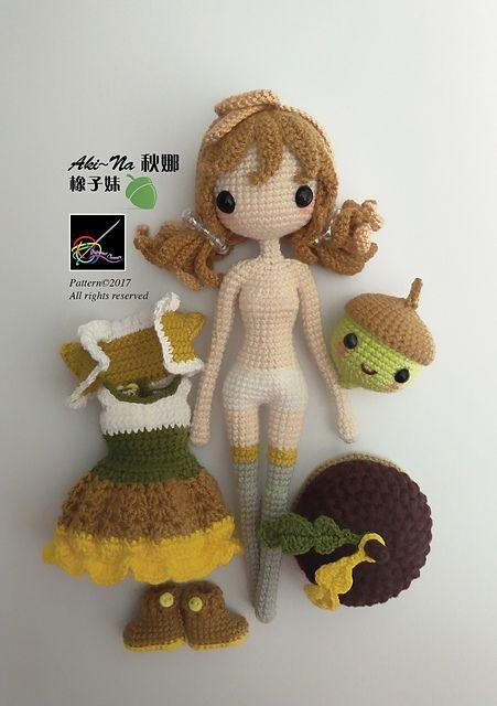 Amigurumi doll AkiNa pattern by Jeslyn Sim
