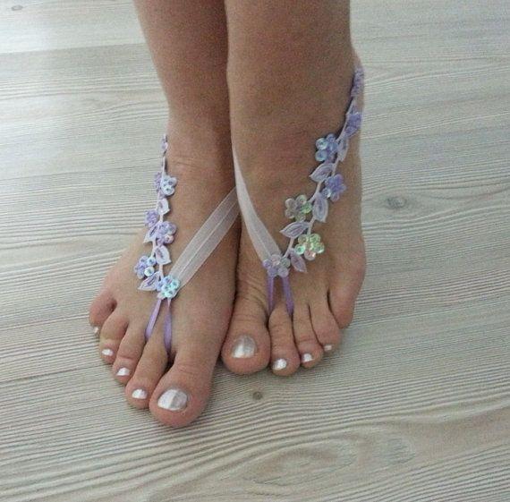 luz púrpura descalzo francés cordón sandalias tobilleras de
