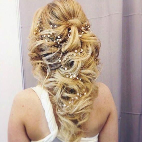 Vigne de cheveux de mariée vigne cheveux longs cheveux mariage