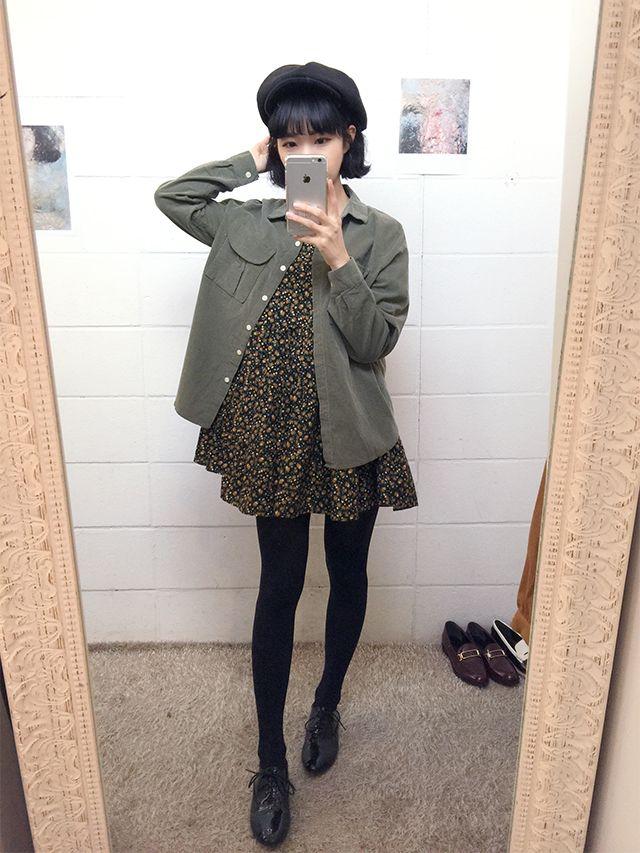 Korean fashion - black floral dress, army green jacket, leggings and black oxfords