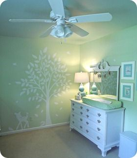 I love the light, limey green color and the white tree! you could easily add brown and blues for a boy or pink for a girl after finding out the gender when you bring baby home