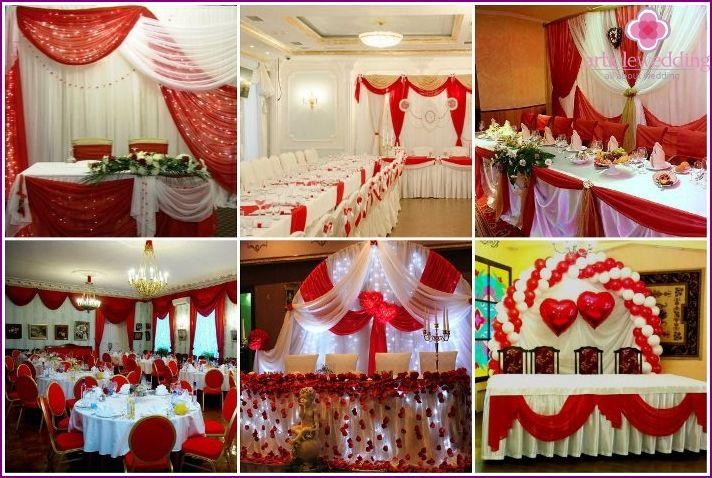 Bryllup i rød - bruden og gommen outfits, design ideer, billeder