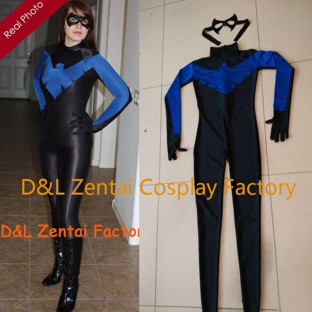 Freies Verschiffen DHL Neue Ankunft Sexy Lady Sexy Blau und Schwarz Weibliche Nightwing Zentai Kostüm Lycra Spandex Halloween-kostüm