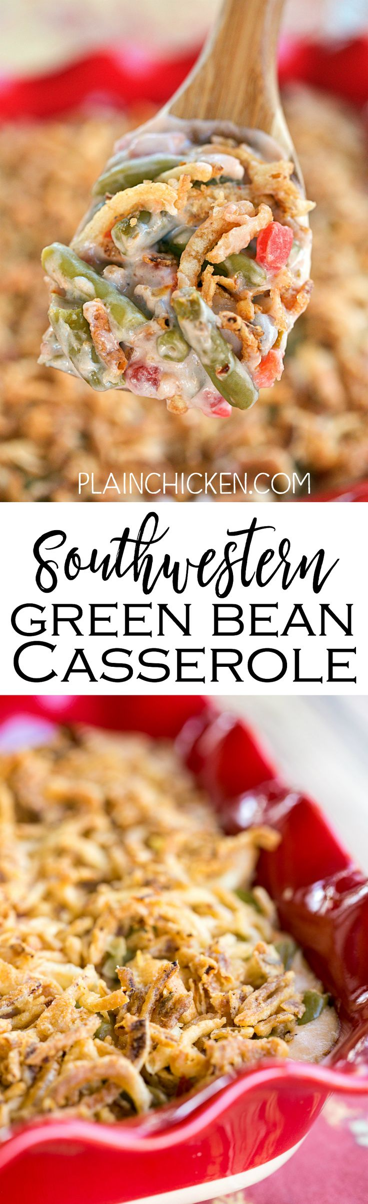 Southwestern Green Bean Casserole - perfect holiday side! Del Monte green beans, Cream of Mushroom soup, milk, soy sauce, Del Monte Diced Tomatoes and Green Chiles, French Fried Onions. Can make the day before and bake when ready to eat. LOVE this yummy side dish recipe!!