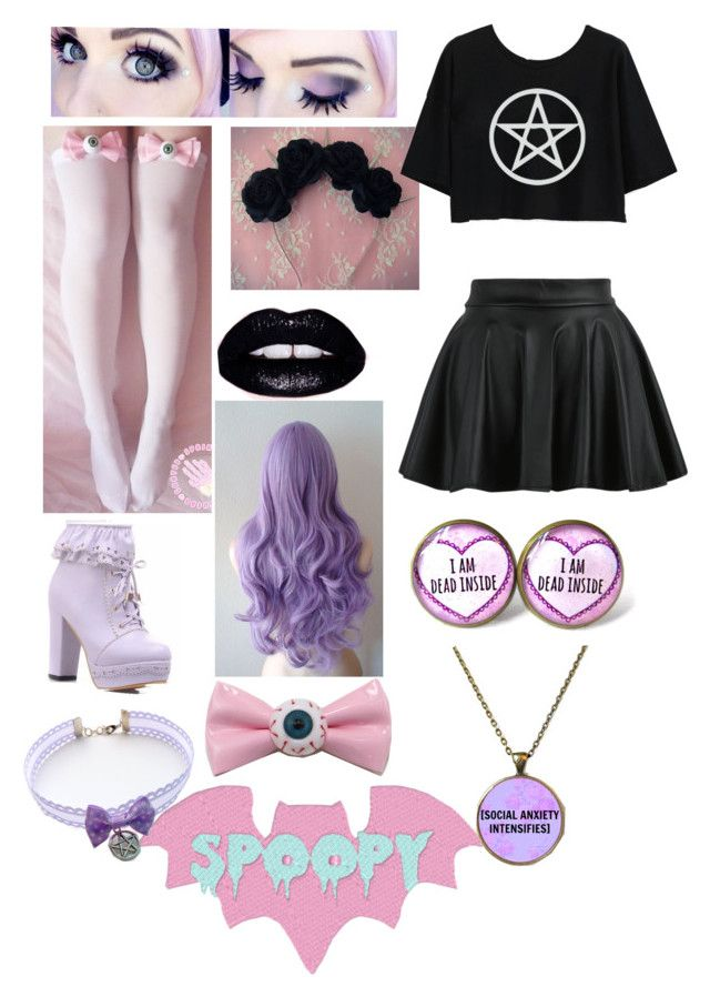 """Pastel Goth"" by redclayfaerie ❤ liked on Polyvore featuring Lime Crime"