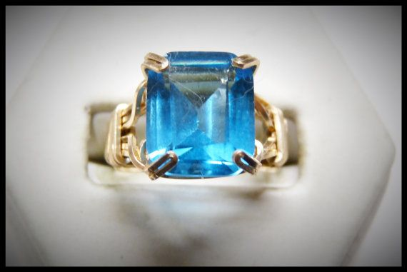 Beautiful Blue Topaz Ring One of a Kind Unique and
