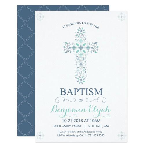 Christening Baptism Invitation Baby Boy Invite Baptism