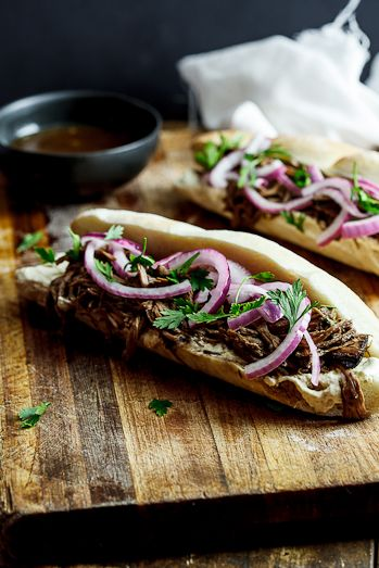 Slow-roasted Balsamic beef sandwiches with horseradish cream