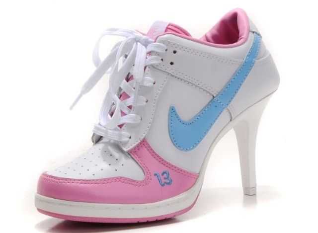 Nike Dunk Unlucky 13 High Heels White Pink Blue