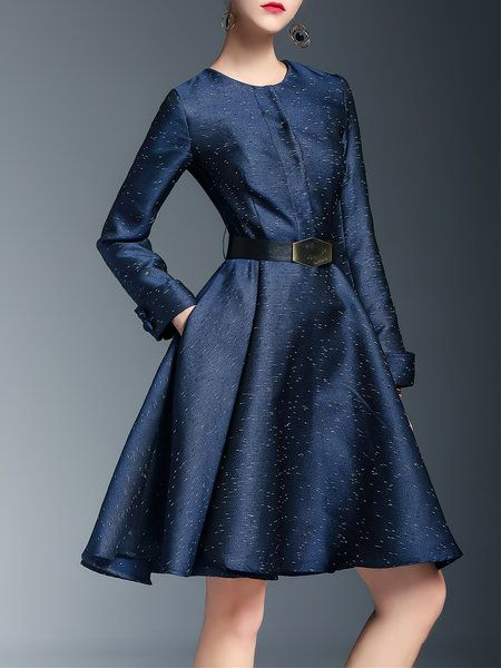 Shop Midi Dresses - Dark Blue Crew Neck A-line Polka Dots Elegant Midi Dress online. Discover unique designers fashion at StyleWe.com.