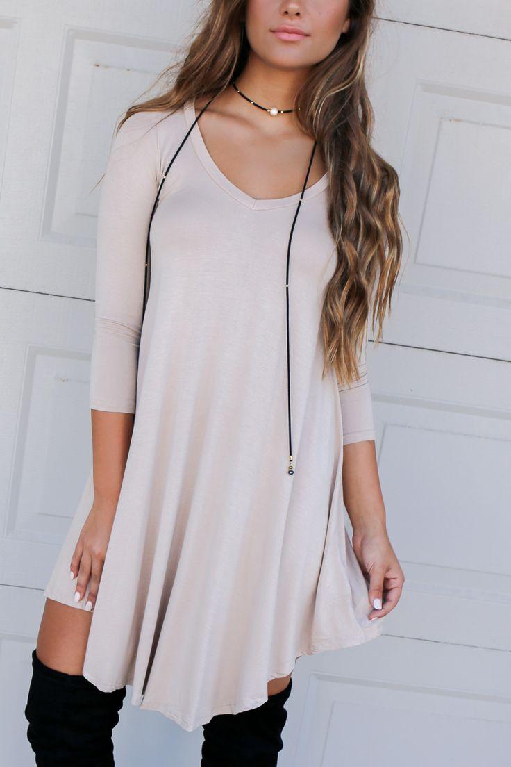 Maybe Baby Biege V-Neck Quarter Sleeve Tunic Dress