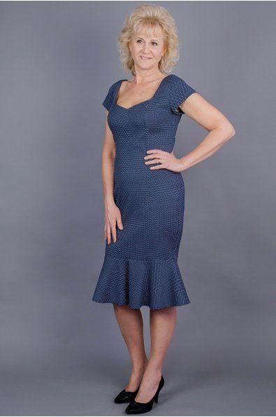 Pouzdrové šaty modré s volánem srdíčkový výstřih kratší rukávek poudrová sukně s volánem možná úprava střihu a ušití na míru
