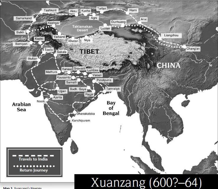 Map of  Hieun Tsang's travels to India and return to China  http://afe.easia.columbia.edu/special/travel_records.pdf…