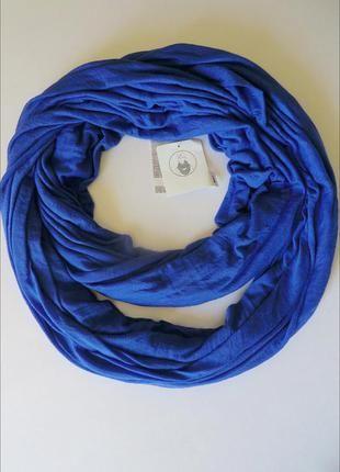 Весенне-летний трикотажный шарф хомут, снуд синего цвета из германии. (C