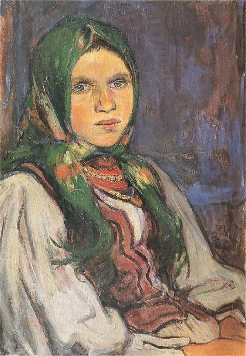 """Wiejska dziewczyna"""" (1906) by Wladyslaw Slewinski"""