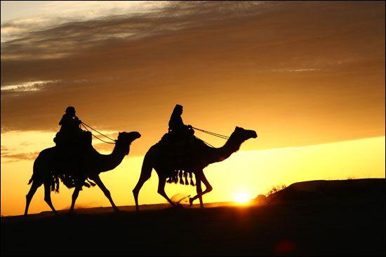 Ride a camel in the Arabian desert.