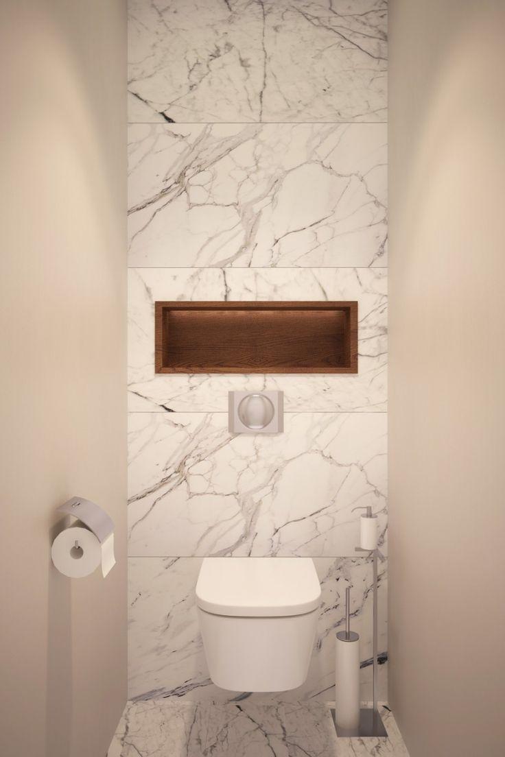 Marmer wand achter het toilet - badkamer
