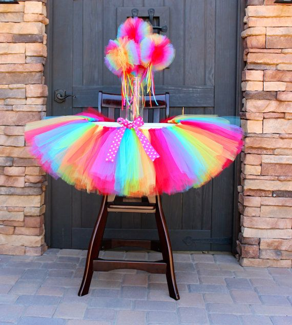 Rainbow High Chair Tutu Decoration First Birthday Party Tutus For Highchairs Cake Smash