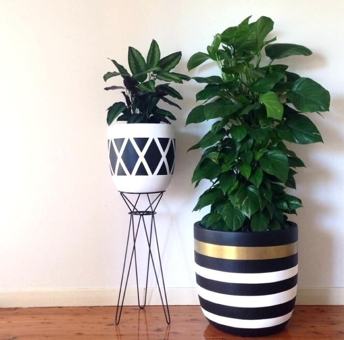 Grey White Gold Planter Pot Indoor Outdoor Modern