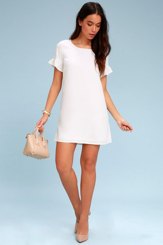 Chic Of Perfection White Shift Dress 2