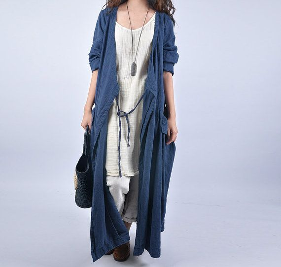 women linen Trench Coat warm spring and autumn coat от chaxuan