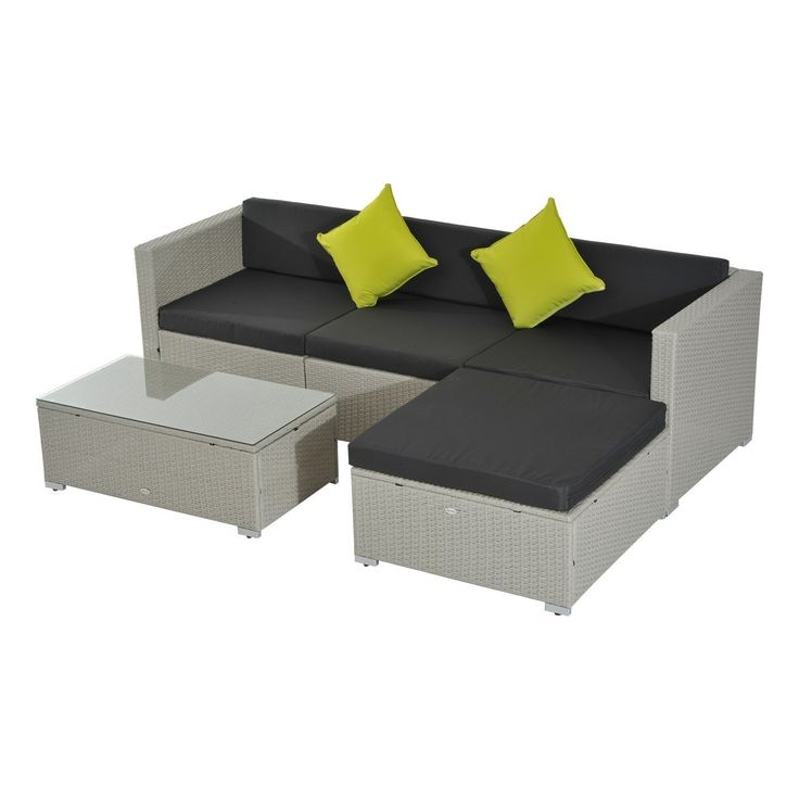 outsunny 5pc rattan outdoor garden patio furniture lounger sofa stool set wicker grey