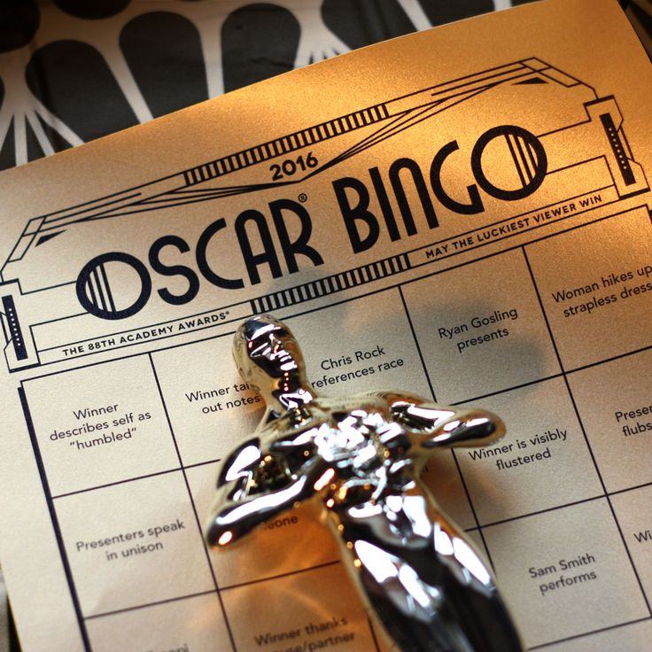 Free 2016 Oscar bingo printable PDF. 20 different game cards. Lots of fun to play with friends on the couch or friends far away via text or tweet (#haobingo). #oscars #oscarparty #bingo