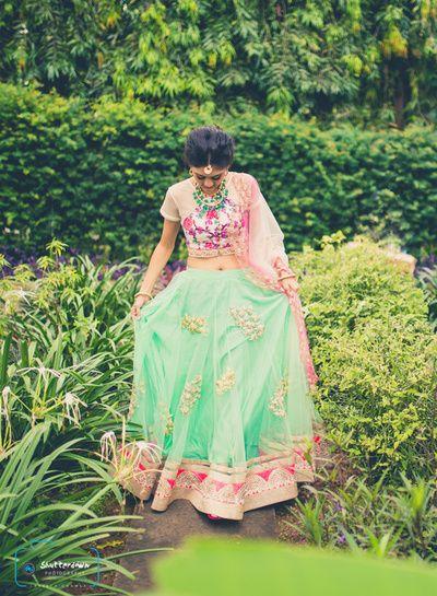 mint and pink lehenga, floral print blouse, aqua lehenga skirt, light lehenga, summer lehenga, peach and pink lehenga, pastel lehenga