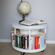 Cable spool made into cool bedside book shelf type thing