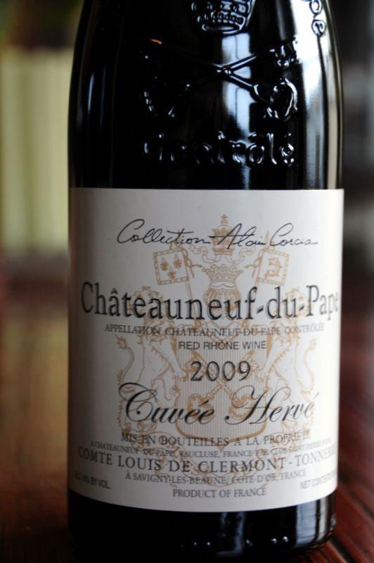2009 Comte Louis de Clermont-Tonnerre (Alain Corcia) Châteauneuf du Pape Cuvée Hervé... goes well with the Chateaubriand Recipe :)