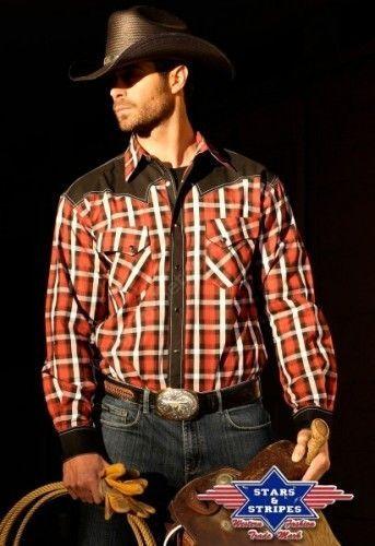50-JAYDEN   Camisa vaquera cuadros rojos y negros de la marca Stars & Stripes para hombre decorada con canesú, botonera y puños a juego a la venta en Corbeto's Boots.