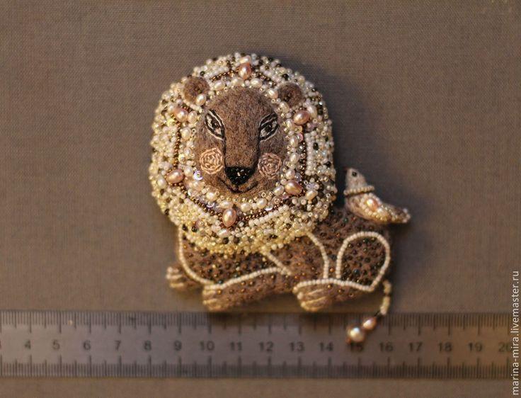 Купить войлочная брошь Лев,.войлок, сказочные существа. - коричневый, сказочный персонаж, сказочные существа