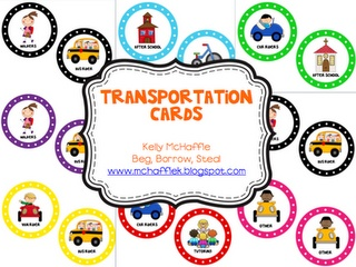 Print transportation charts (free), attach to a ribbon, and put clothspins with students names on the correct transportation method :) cute!