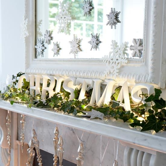 white mantle, lighted garland, CHRISTMAS, white mirror, snowflakes