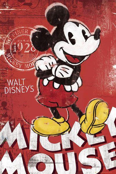 Póster Disney. Mickey Mouse Póster del que fue el primer personaje de dibujos animados de la empresa Disney Mickey Mouse.