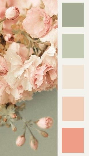 Color palette with sage and peach hues.